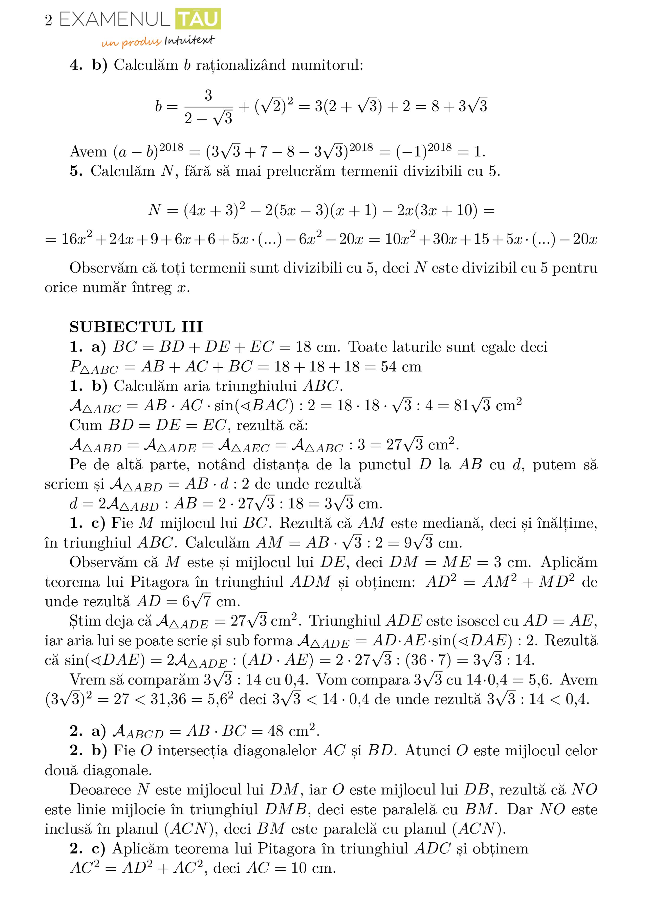 Rezolvari subiecte simulare Evaluare Nationala 2018 - proba la matematica (2)